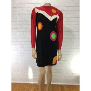 Vintage 90s Liz Claiborne Sweater Dress Geometric